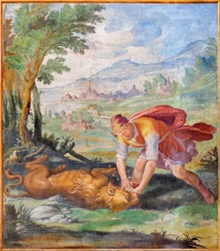 ROME, ITALY - MARCH 11, 2016: The fresco Samson wrestling a lion, and eating honey from its carcass in church Basilica di San Vitale by Tarquinio Ligustri (1603).